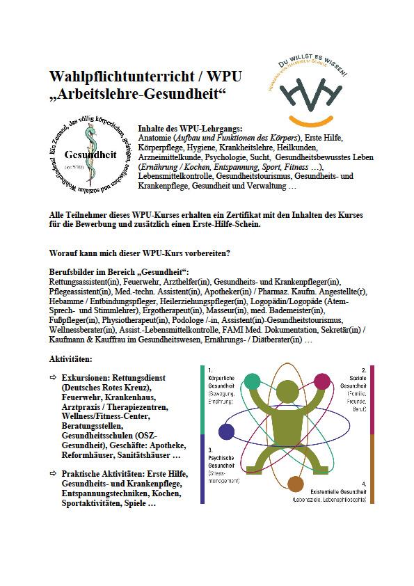 """Wahlpflichtkurs """"Arbeitslehre-Gesundheit"""" – Hermann-von-Helmholtz-Schule"""